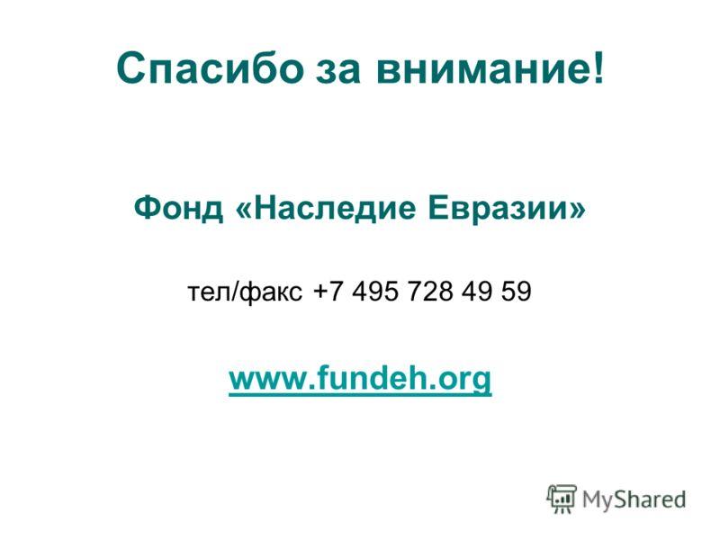 Спасибо за внимание! Фонд «Наследие Евразии» тел/факс +7 495 728 49 59 www.fundeh.org