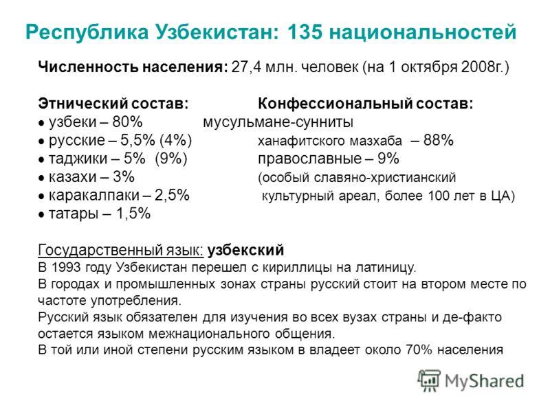 Республика Узбекистан: 135 национальностей Численность населения: 27,4 млн. человек (на 1 октября 2008г.) Этнический состав:Конфессиональный состав: узбеки – 80% мусульмане-сунниты русские – 5,5% (4%) ханафитского мазхаба – 88% таджики – 5% (9%)право