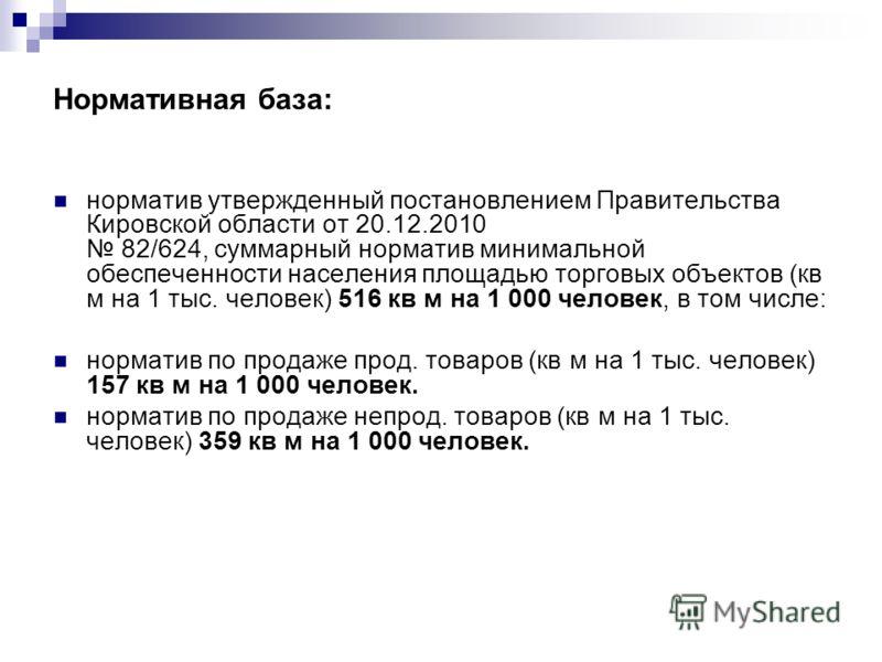 Нормативная база: норматив утвержденный постановлением Правительства Кировской области от 20.12.2010 82/624, суммарный норматив минимальной обеспеченности населения площадью торговых объектов (кв м на 1 тыс. человек) 516 кв м на 1 000 человек, в том
