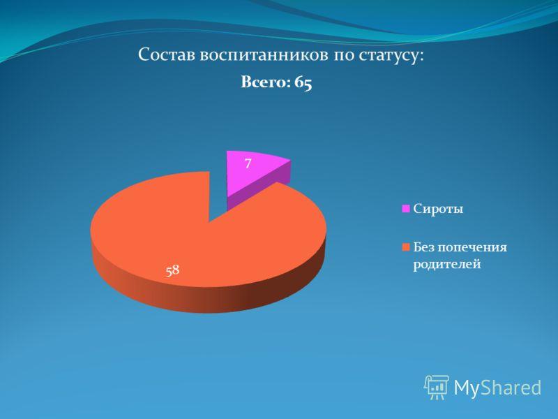 Состав воспитанников по статусу: