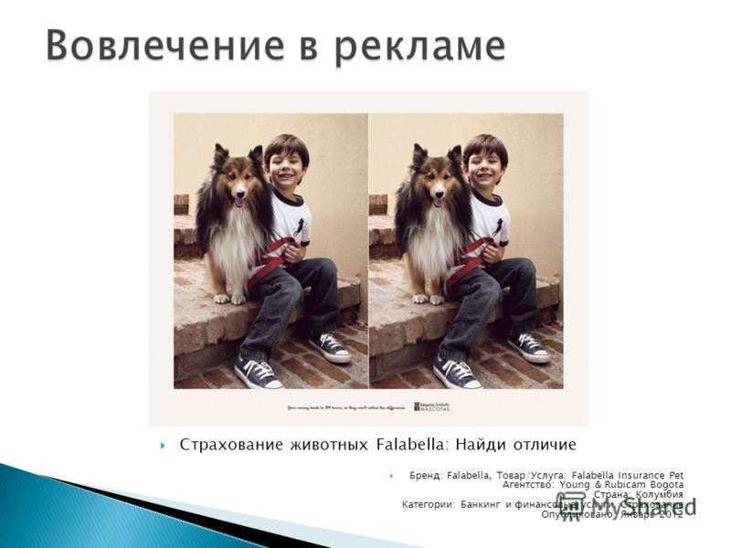Страхование животных Falabella: Найди отличие Бренд: Falabella, Товар/Услуга: Falabella Insurance Pet Агентство: Young & Rubicam Bogota Страна: Колумбия Категории: Банкинг и финансовые услуги, Страхование Опубликовано: Январь 2012