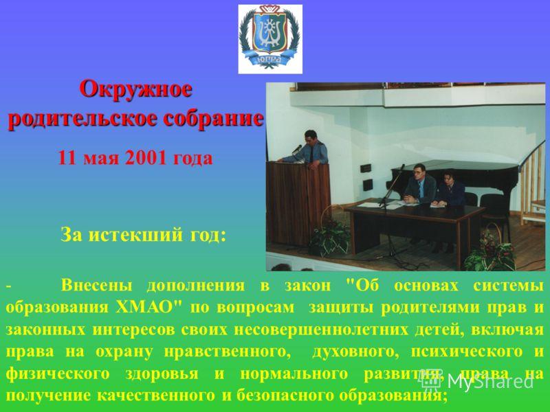 Окружное родительское собрание 11 мая 2001 года За истекший год: -Внесены дополнения в закон