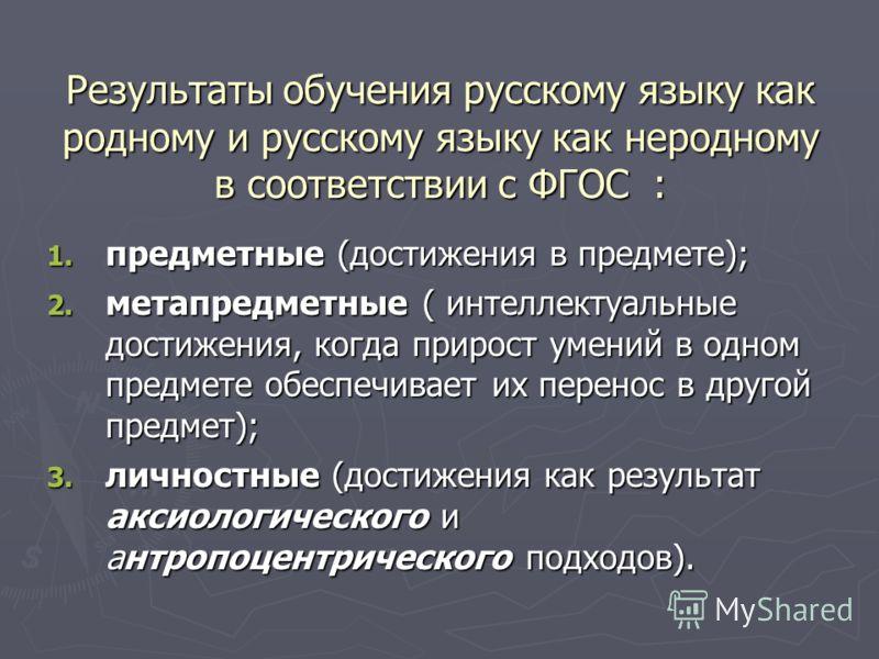 Результаты обучения русскому языку как родному и русскому языку как неродному в соответствии с ФГОС : 1. предметные (достижения в предмете); 2. метапредметные ( интеллектуальные достижения, когда прирост умений в одном предмете обеспечивает их перено