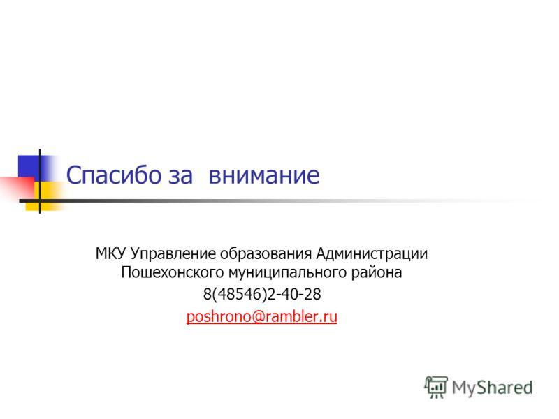 Спасибо за внимание МКУ Управление образования Администрации Пошехонского муниципального района 8(48546)2-40-28 poshrono@rambler.ru