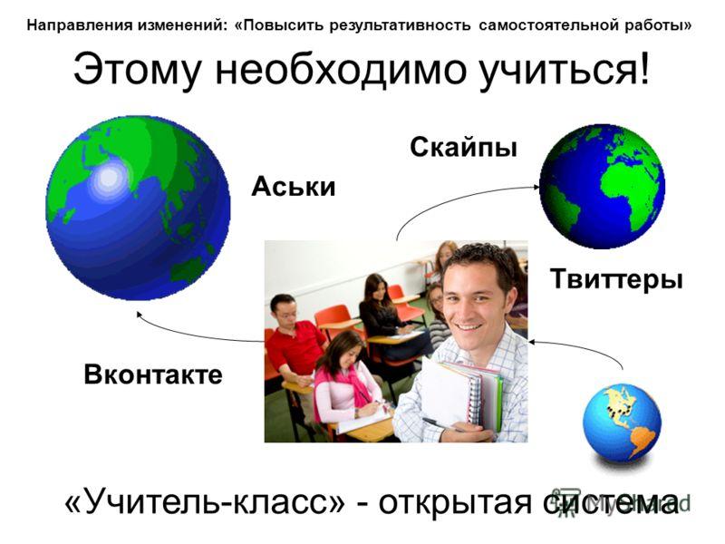Этому необходимо учиться! «Учитель-класс» - открытая система Твиттеры Вконтакте Скайпы Аськи Направления изменений: «Повысить результативность самостоятельной работы»