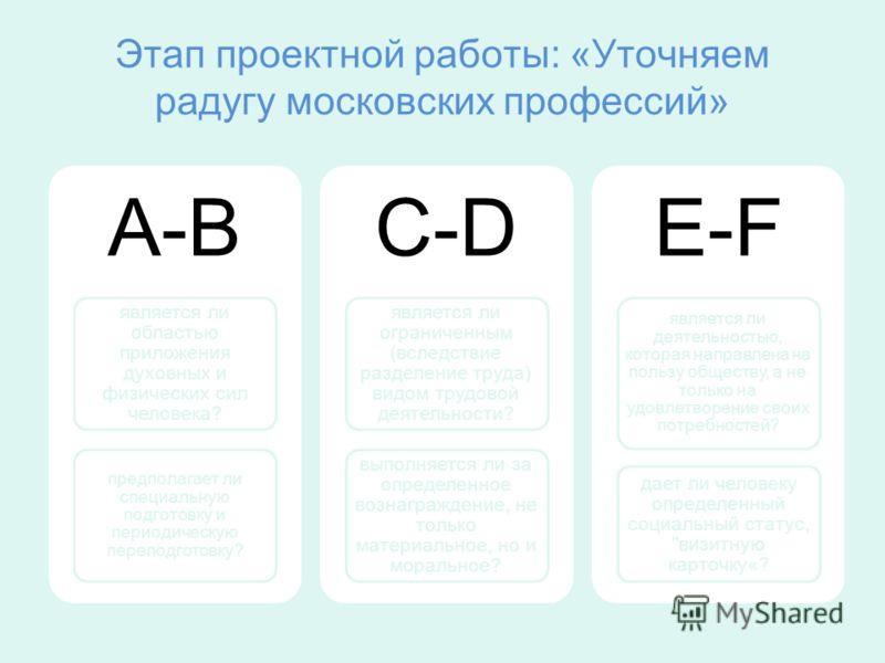 Этап проектной работы: «Уточняем радугу московских профессий» A-B является ли областью приложения духовных и физических сил человека? предполагает ли специальную подготовку и периодическую переподготовку? C-D является ли ограниченным (вследствие разд