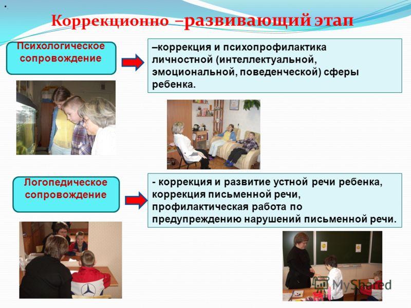 Коррекционно –развивающий этап Психологическое сопровождение. –коррекция и психопрофилактика личностной (интеллектуальной, эмоциональной, поведенческой) сферы ребенка. Логопедическое сопровождение - коррекция и развитие устной речи ребенка, коррекция