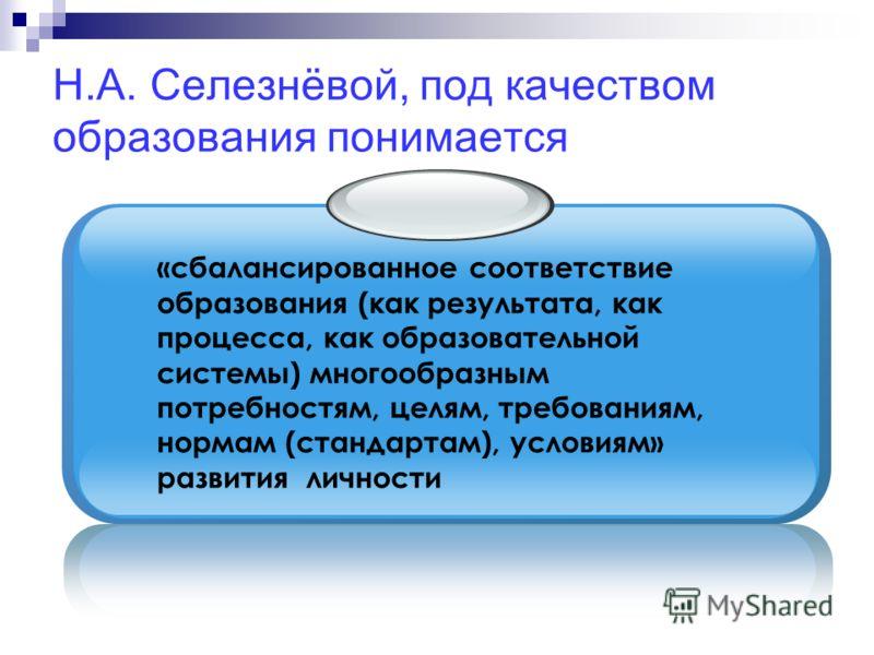 Н.А. Селезнёвой, под качеством образования понимается «сбалансированное соответствие образования (как результата, как процесса, как образовательной системы) многообразным потребностям, целям, требованиям, нормам (стандартам), условиям» развития лично