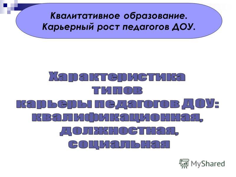 Квалитативное образование. Карьерный рост педагогов ДОУ.
