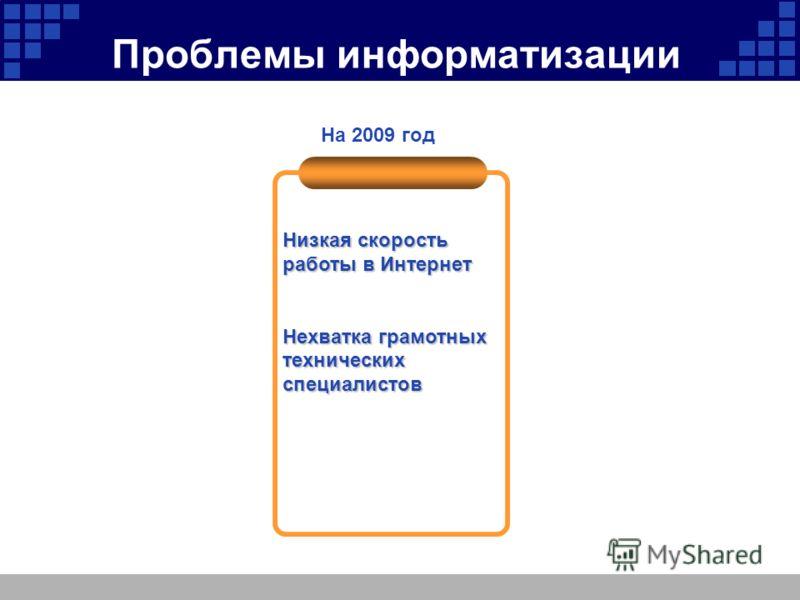 Проблемы информатизации Низкая скорость работы в Интернет Нехватка грамотных технических специалистов На 2009 год