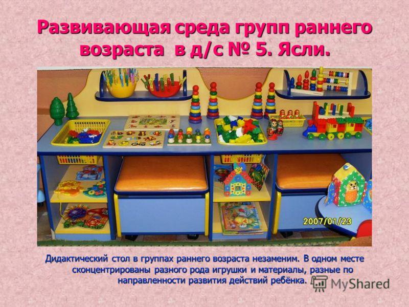 Развивающая среда групп раннего возраста в д/с 5. Ясли. Дидактический стол в группах раннего возраста незаменим. В одном месте сконцентрированы разного рода игрушки и материалы, разные по направленности развития действий ребёнка.