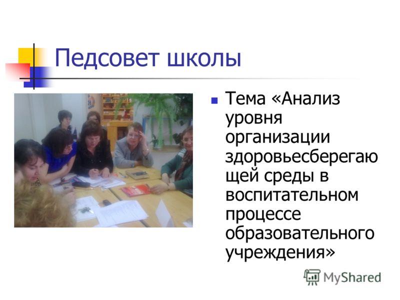 Педсовет школы Тема «Анализ уровня организации здоровьесберегаю щей среды в воспитательном процессе образовательного учреждения»