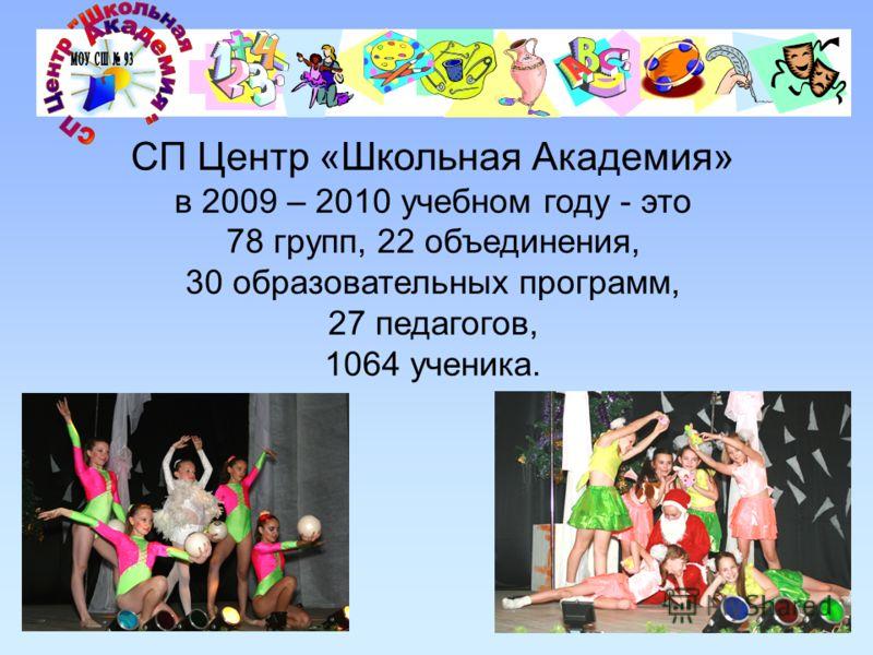СП Центр «Школьная Академия» в 2009 – 2010 учебном году - это 78 групп, 22 объединения, 30 образовательных программ, 27 педагогов, 1064 ученика.