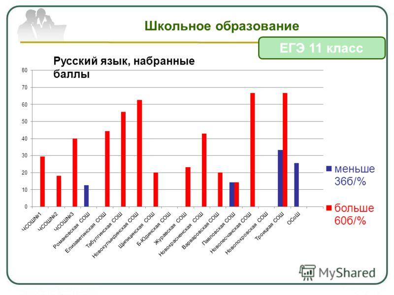 Школьное образование ЕГЭ 11 класс Русский язык, набранные баллы