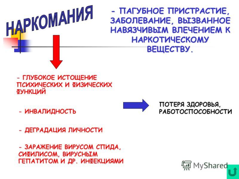 - ПАГУБНОЕ ПРИСТРАСТИЕ, ЗАБОЛЕВАНИЕ, ВЫЗВАННОЕ НАВЯЗЧИВЫМ ВЛЕЧЕНИЕМ К НАРКОТИЧЕСКОМУ ВЕЩЕСТВУ. - ГЛУБОКОЕ ИСТОЩЕНИЕ ПСИХИЧЕСКИХ И ФИЗИЧЕСКИХ ФУНКЦИЙ - ИНВАЛИДНОСТЬ - ДЕГРАДАЦИЯ ЛИЧНОСТИ - ЗАРАЖЕНИЕ ВИРУСОМ СПИДА, СИФИЛИСОМ, ВИРУСНЫМ ГЕПАТИТОМ И ДР. И