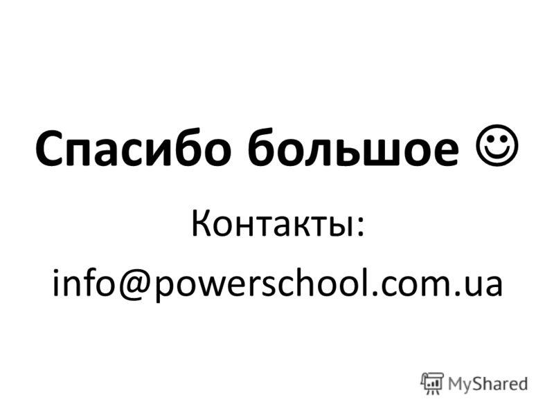 Спасибо большое Контакты: info@powerschool.com.ua