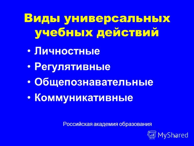 51 Виды универсальных учебных действий Личностные Регулятивные Общепознавательные Коммуникативные Российская академия образования