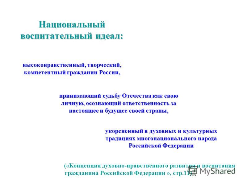 Национальный воспитательный идеал: («Концепция духовно-нравственного развития и воспитания гражданина Российской Федерации », стр.11) высоконравственный, творческий, компетентный гражданин России, принимающий судьбу Отечества как свою личную, осознаю