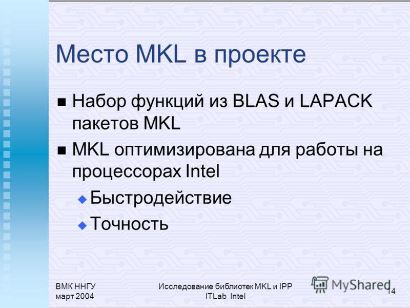 ВМК ННГУ март 2004 Исследование библиотек MKL и IPP ITLab Intel 14 Место MKL в проекте Набор функций из BLAS и LAPACK пакетов MKL MKL оптимизирована для работы на процессорах Intel Быстродействие Точность