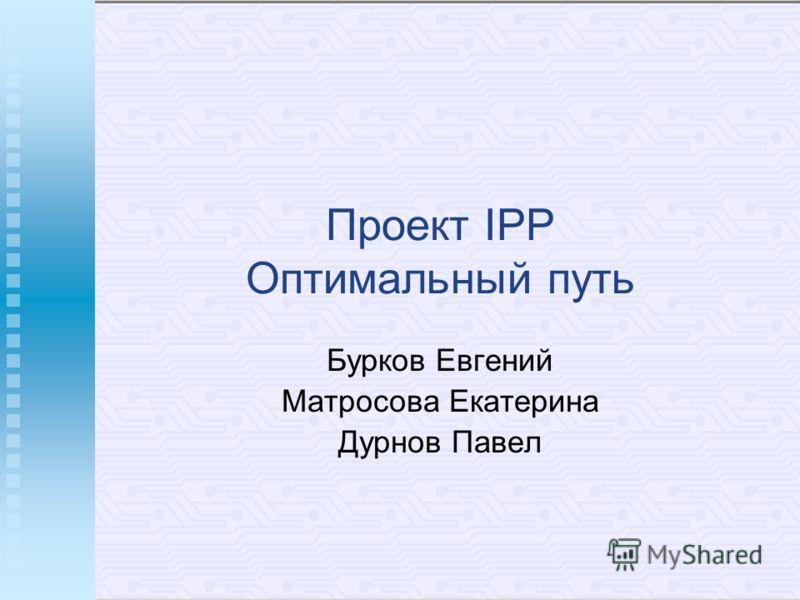 Проект IPP Оптимальный путь Бурков Евгений Матросова Екатерина Дурнов Павел