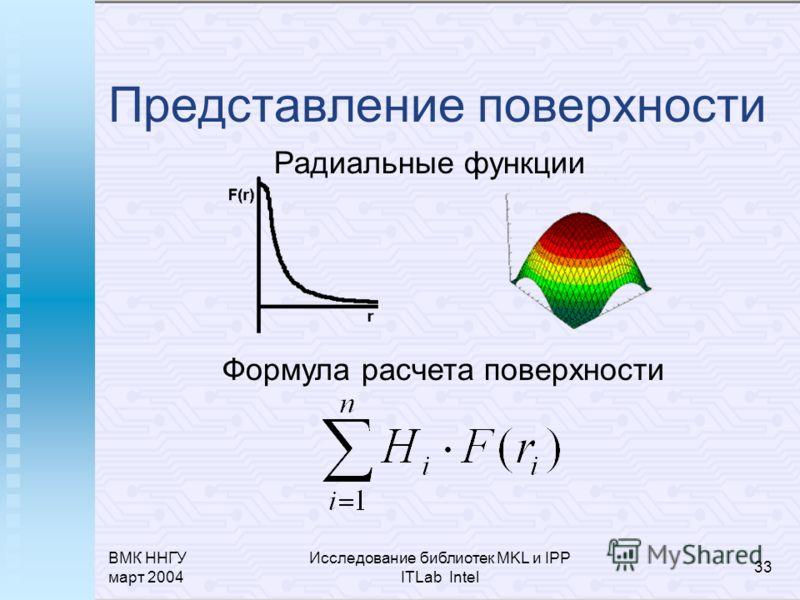 ВМК ННГУ март 2004 Исследование библиотек MKL и IPP ITLab Intel 33 Представление поверхности Радиальные функции Формула расчета поверхности