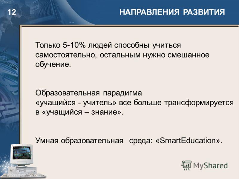 12 НАПРАВЛЕНИЯ РАЗВИТИЯ Только 5-10% людей способны учиться самостоятельно, остальным нужно смешанное обучение. Образовательная парадигма «учащийся - учитель» все больше трансформируется в «учащийся – знание». Умная образовательная среда: «SmartEduca