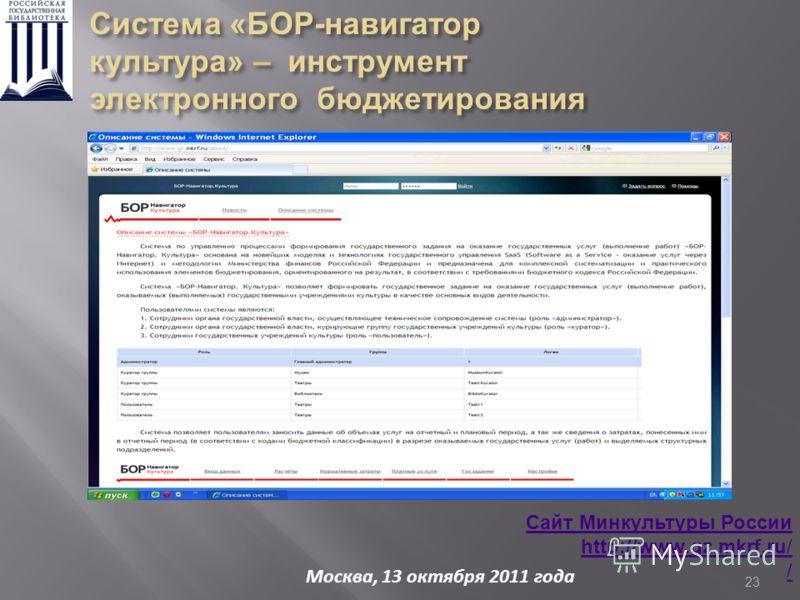 23 Сайт Минкультуры России http://www.gz.mkrf.ru/ Москва, 13 октября 2011 года