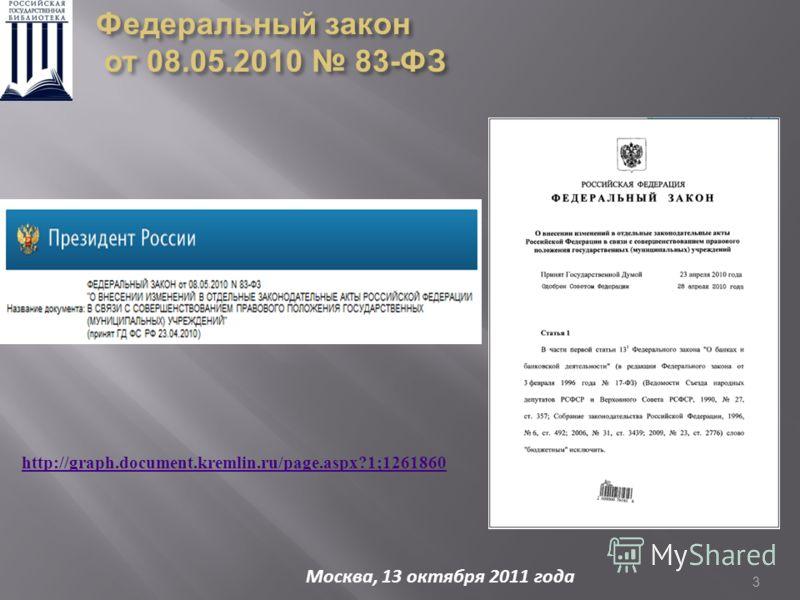 3 http://graph.document.kremlin.ru/page.aspx?1;1261860 Москва, 13 октября 2011 года Федеральный закон от 08.05.2010 83-ФЗ от 08.05.2010 83-ФЗ