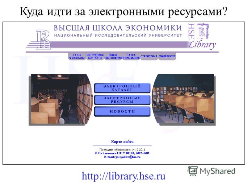 Куда идти за электронными ресурсами? http://library.hse.ru
