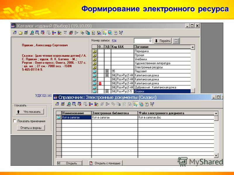 Формирование электронного ресурса