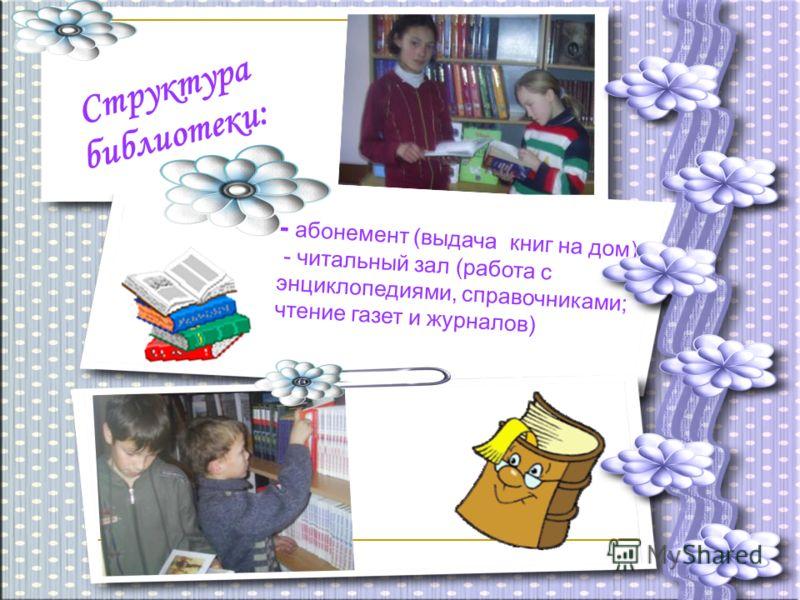 Структура библиотеки: - абонемент (выдача книг на дом) - читальный зал (работа с энциклопедиями, справочниками; чтение газет и журналов)