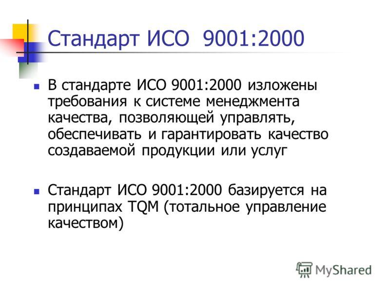 Стандарт ИСО 9001:2000 В стандарте ИСО 9001:2000 изложены требования к системе менеджмента качества, позволяющей управлять, обеспечивать и гарантировать качество создаваемой продукции или услуг Стандарт ИСО 9001:2000 базируется на принципах TQM (тота