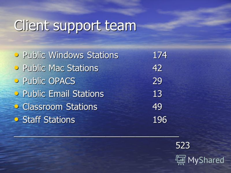 Client support team Public Windows Stations 174 Public Windows Stations 174 Public Mac Stations42 Public Mac Stations42 Public OPACS29 Public OPACS29 Public Email Stations13 Public Email Stations13 Classroom Stations49 Classroom Stations49 Staff Stat
