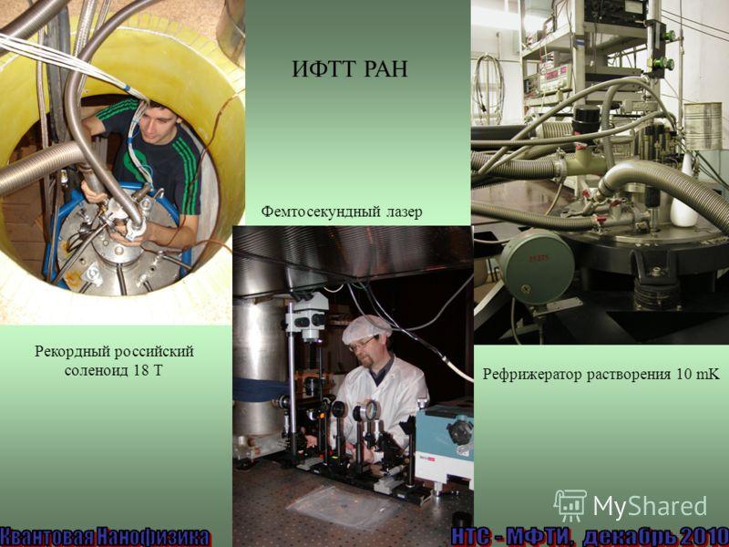 Фемтосекундный лазер Рефрижератор растворения 10 mK Рекордный российский соленоид 18 Т