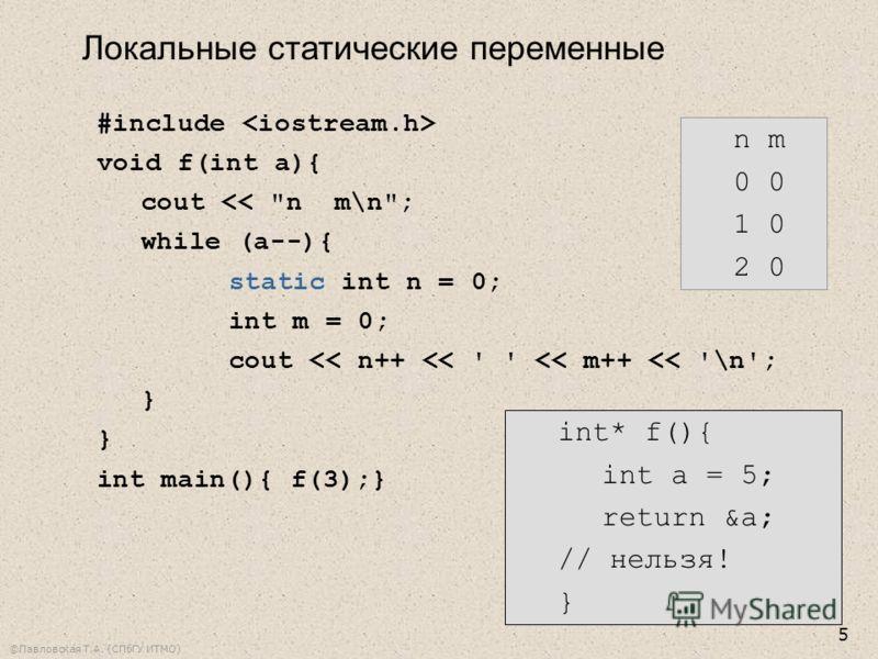 ©Павловская Т.А. (СПбГУ ИТМО) 5 #include void f(int a){ cout