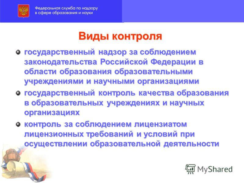 Виды контроля государственный надзор за соблюдением законодательства Российской Федерации в области образования образовательными учреждениями и научными организациями государственный контроль качества образования в образовательных учреждениях и научн