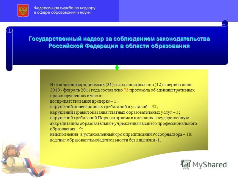 В отношении юридических (31) и должностных лиц (42) в период июнь 2010 - февраль 2011 года составлено 73 протокола об административных правонарушениях в части: воспрепятствования проверке – 1; нарушений лицензионных требований и условий – 32; нарушен