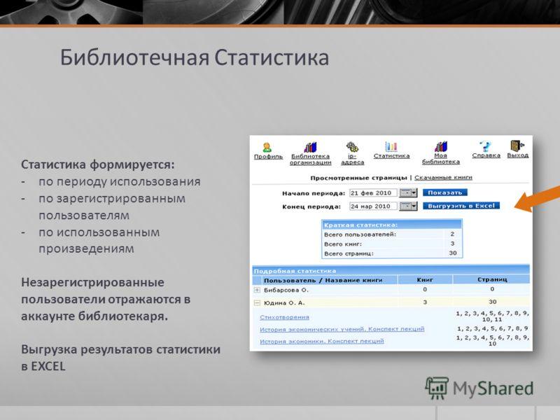 Библиотечная Статистика Статистика формируется: -по периоду использования -по зарегистрированным пользователям -по использованным произведениям Незарегистрированные пользователи отражаются в аккаунте библиотекаря. Выгрузка результатов статистики в EX