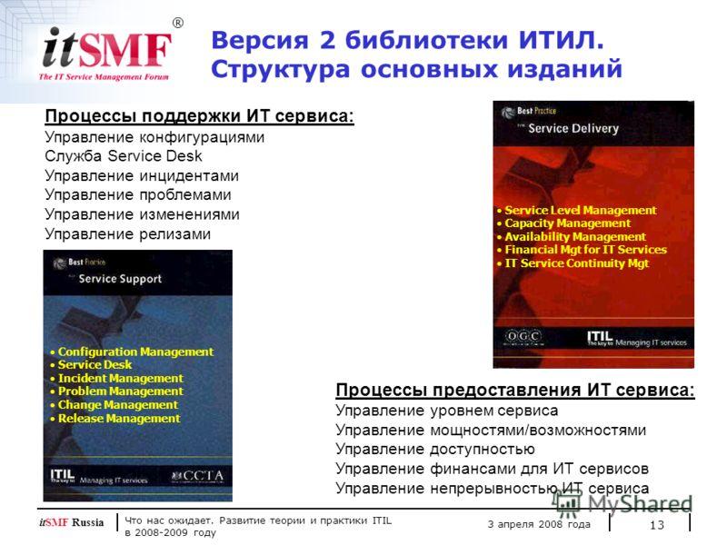 Что нас ожидает. Развитие теории и практики ITIL в 2008-2009 году 3 апреля 2008 года itSMF Russia 13 Процессы поддержки ИТ сервиса: Управление конфигурациями Cлужба Service Desk Управление инцидентами Управление проблемами Управление изменениями Упра
