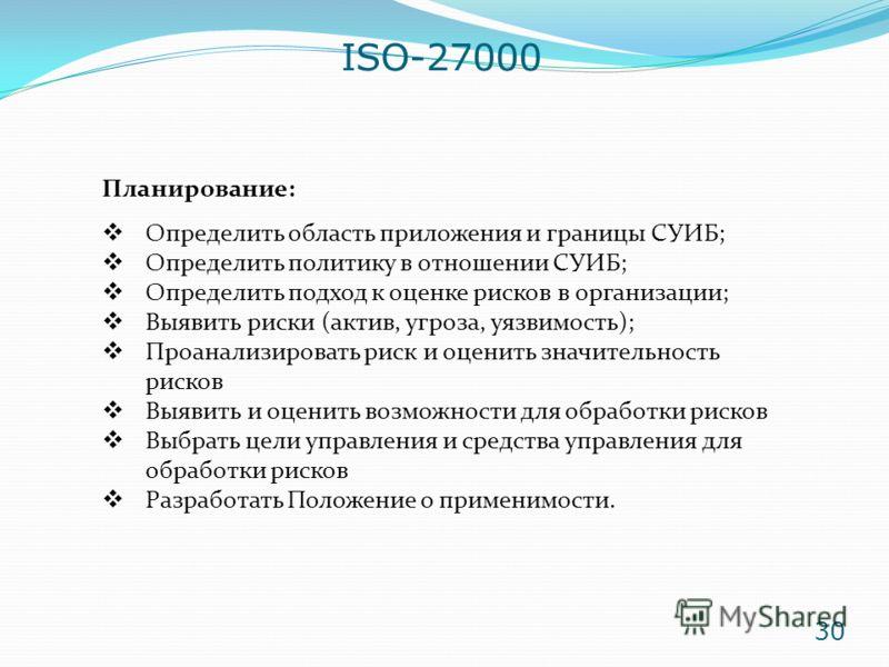 ISO-27000 Планирование: Определить область приложения и границы СУИБ; Определить политику в отношении СУИБ; Определить подход к оценке рисков в организации; Выявить риски (актив, угроза, уязвимость); Проанализировать риск и оценить значительность рис