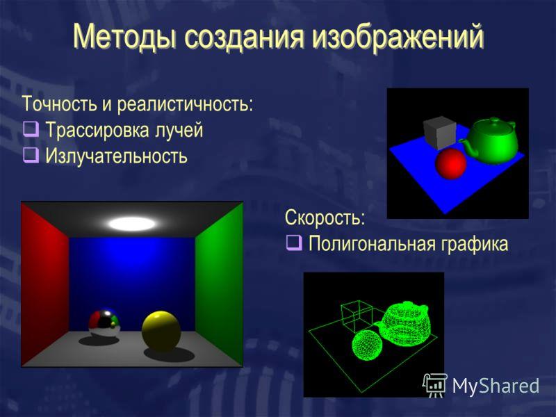 Методы создания изображений Точность и реалистичность: Трассировка лучей Излучательность Скорость: Полигональная графика