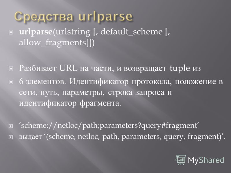urlparse (urlstring [, default_scheme [, allow_fragments]]) Разбивает URL на части, и возвращает tuple из 6 элементов. Идентификатор протокола, положение в сети, путь, параметры, строка запроса и идентификатор фрагмента. scheme://netloc/path;paramete