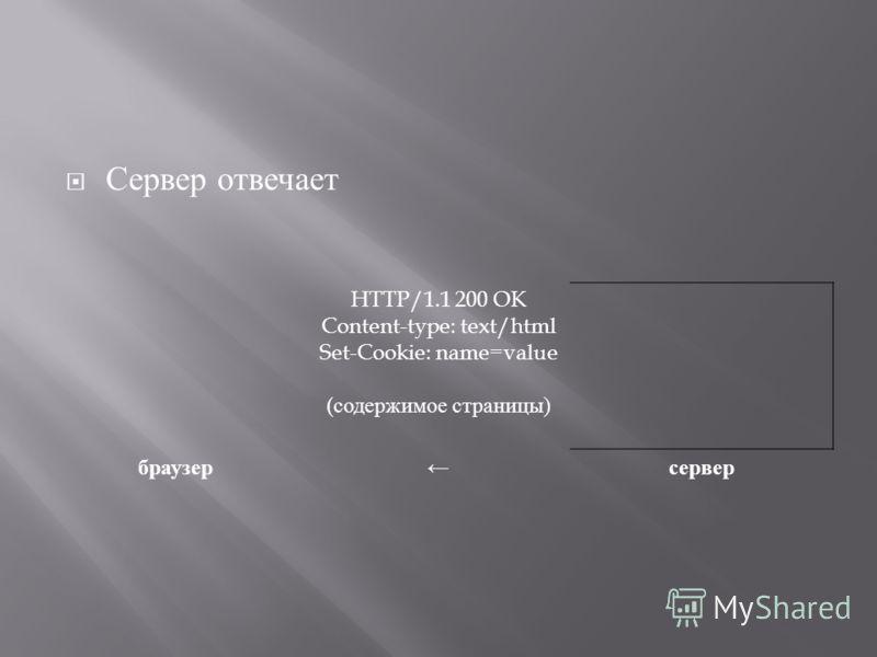 Сервер отвечает HTTP/1.1 200 OK Content-type: text/html Set-Cookie: name=value ( содержимое страницы ) браузер сервер