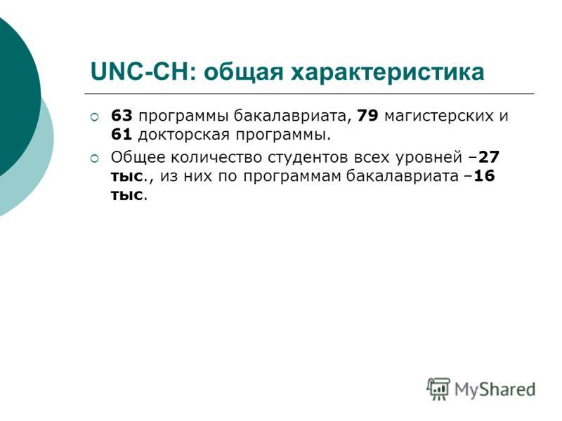 UNC-CH: общая характеристика 63 программы бакалавриата, 79 магистерских и 61 докторская программы. Общее количество студентов всех уровней –27 тыс., из них по программам бакалавриата –16 тыс.