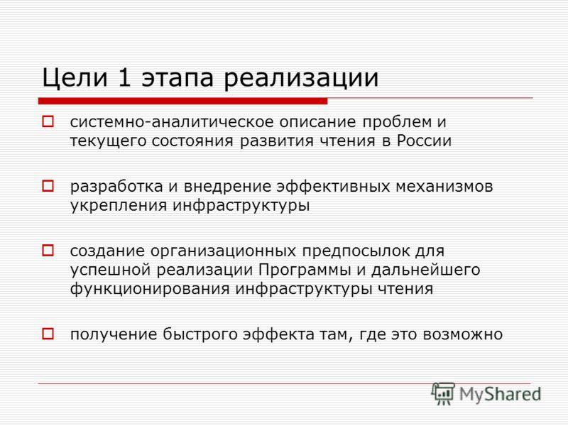 Цели 1 этапа реализации системно-аналитическое описание проблем и текущего состояния развития чтения в России разработка и внедрение эффективных механизмов укрепления инфраструктуры создание организационных предпосылок для успешной реализации Програм