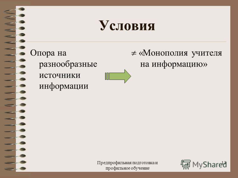Предпрофильная подготовка и профильное обучение 13 Условия Опора на разнообразные источники информации «Монополия учителя на информацию»