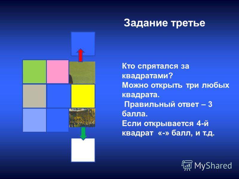 Задание третье Кто спрятался за квадратами? Можно открыть три любых квадрата. Правильный ответ – 3 балла. Если открывается 4-й квадрат «-» балл, и т.д.