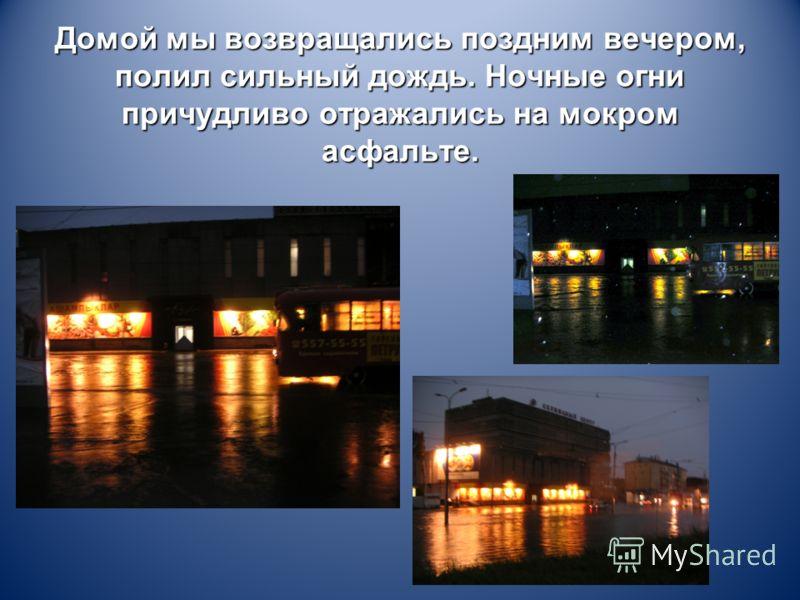 Домой мы возвращались поздним вечером, полил сильный дождь. Ночные огни причудливо отражались на мокром асфальте.