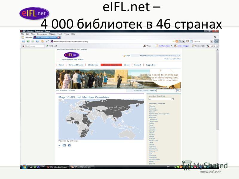 eIFL.net – 4 000 библиотек в 46 странах