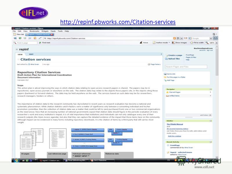 http://repinf.pbworks.com/Citation-services